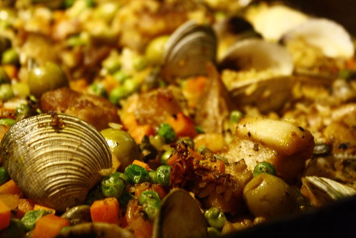 close up image of paella